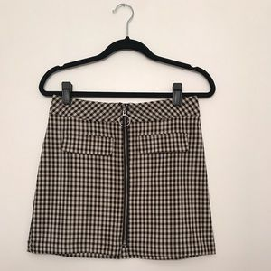 Urban Outfitters Skirts - UO Marsha Gingham Zip-Front Mini Skirt